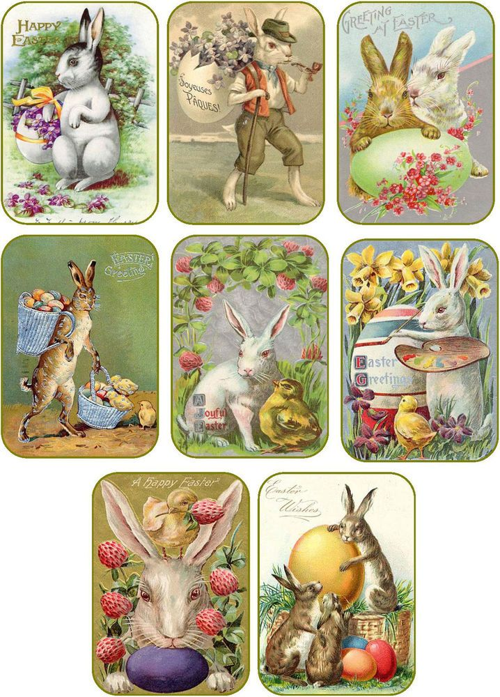 Vintage Easter 8 bunny rabbit eggs antique pictures tags scrapbooking