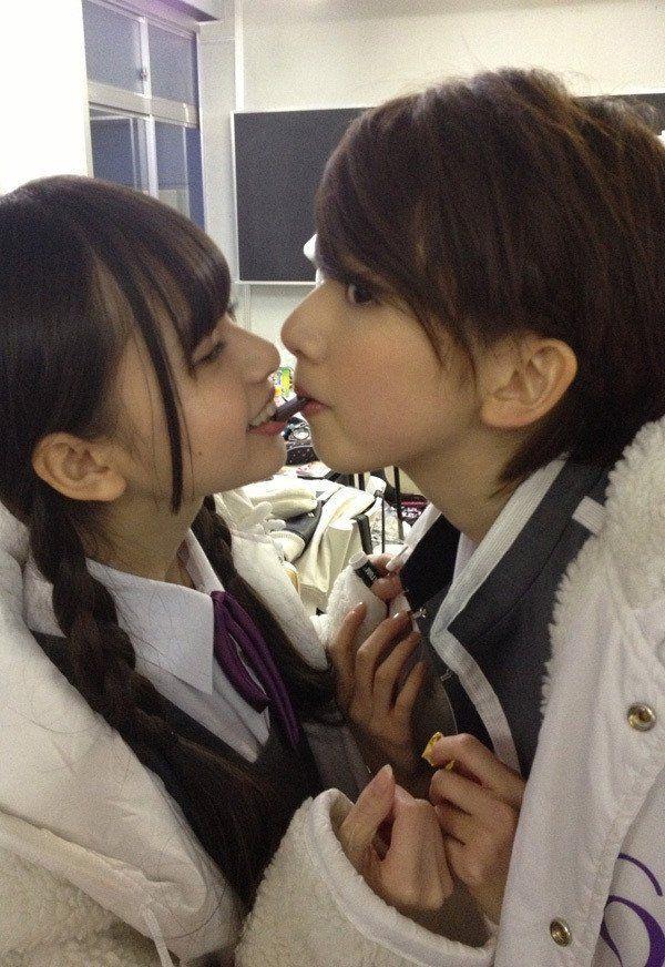 Japanese girl to girl kiss — img 9