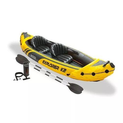 Caiaque Inflável Explorer 160kg K2 Remos Bomba Intex Canoa - R$ 699,99