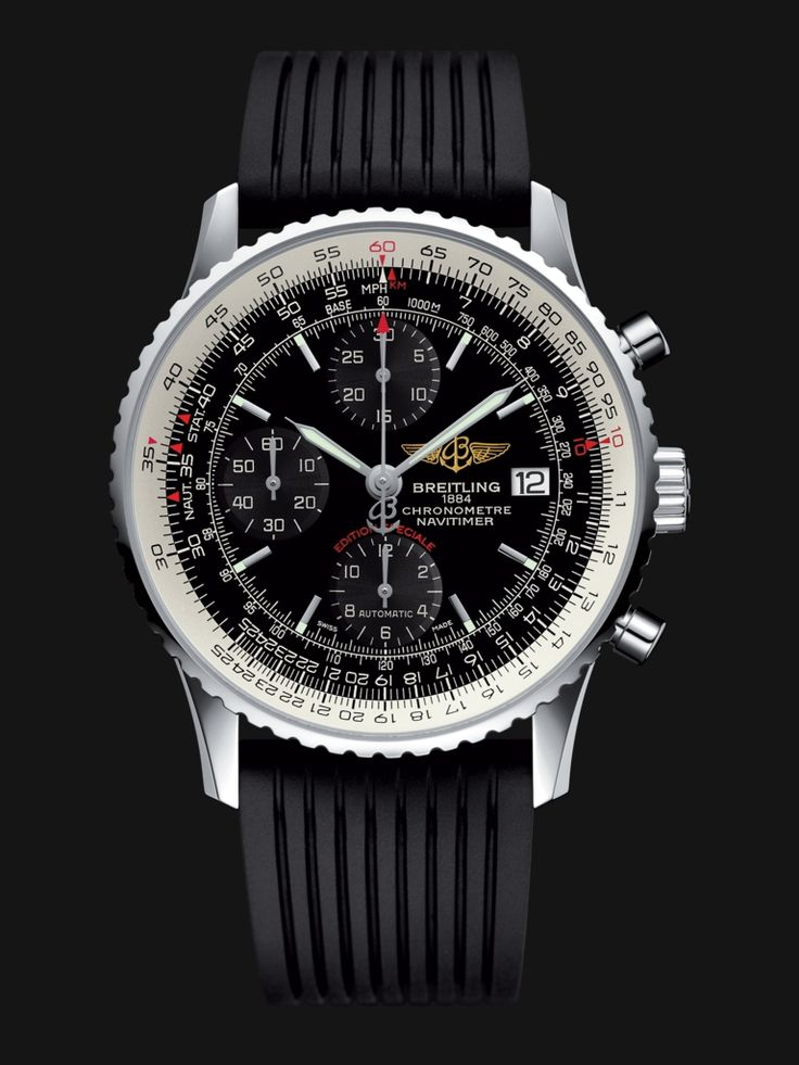 A tribute to the original Navitimer (1952), this special edition is distinguished by its slightly smaller diameter and its black or blue dial featuring tone-on-tone counters. The famous circular slide rule, operated via the bidirectional rotating bezel, serves to perform all airborne navigation oper...