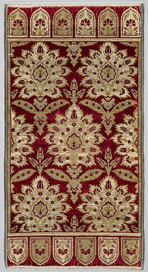 Velvet cushion cover (yastik), ca. 1600 Turkey, Bursa Silk, cotton, metal–wrapped thread; cut and voided velvet (çatma), brocaded