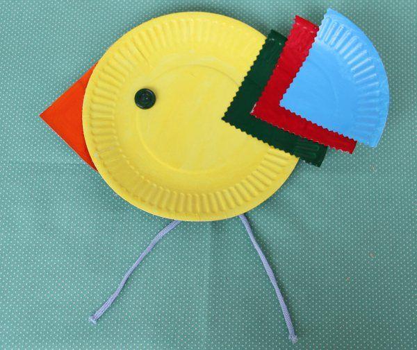 Птичка из бумажных тарелок (МК) и не только