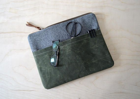 """Laptop Sleeve with Zipper in Charcoal Linen and Waxed Canvas - Macbook Air 13"""" Sleeve - Macbook Case - Laptop Bag - Graduation Gift"""