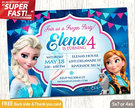 FROZEN INVITATION, Frozen Birthday Invitation, Frozen Party Invitation, Frozen Invite, Elsa Invitation, Free Frozen Thank You Card, v1g