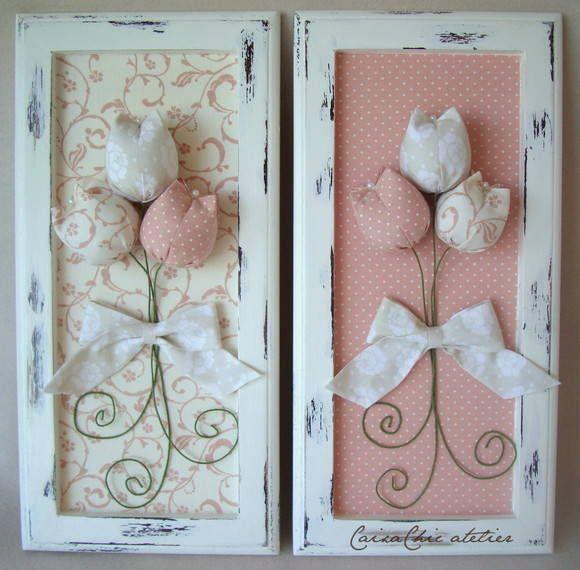 Quadrinho Provençal (madeira), em pátina c/ tulipas e tecido.    * Valor referente ao trio de quadros.    * Valor unitário: R$ 82,00 cada.