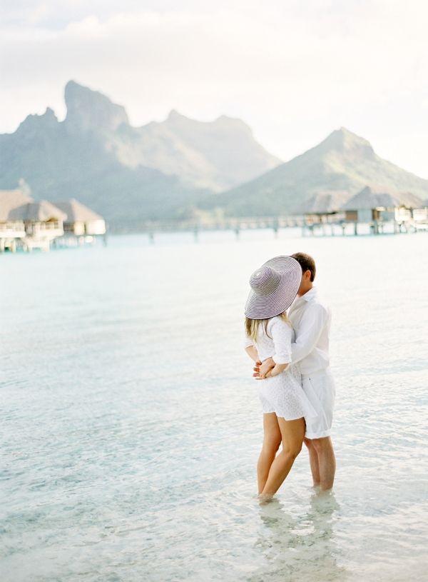 Beach Engagement | Four Seasons Bora Bora | Jose Villa
