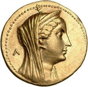 Octodracma - oro - Alessandria, Egitto (283-246 a.C.) - Arsinoe II di profilo vs.dx. con stefané e velo - Münzkabinett Berlin
