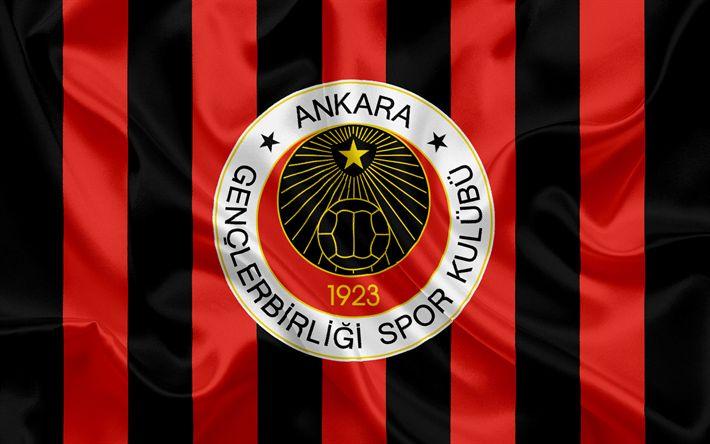 Download imagens Genclerbirlig SK, Turco futebol clube, emblema, logo, vermelho preto de seda bandeira, Ancara, A turquia, Turco Campeonato De Futebol