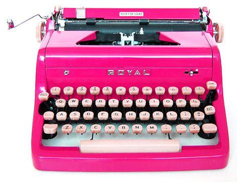 Hot pink vintage typewriter.....