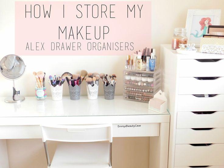 Makeup Storage Ikea Alex Drawers, Ikea Malm Dressing Table, Alex Drawer Organisers, Makeup Organizers, Makeup Storage, Vanity Room
