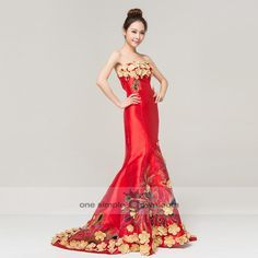 Strapless Phoenix Embroidery Appliques Cheong Sam