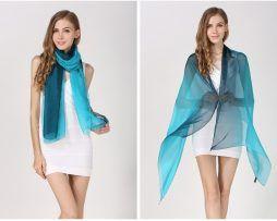 Luxusný hodvábny svetlo-modrý šál, rozmer 185 x 68 cm ,