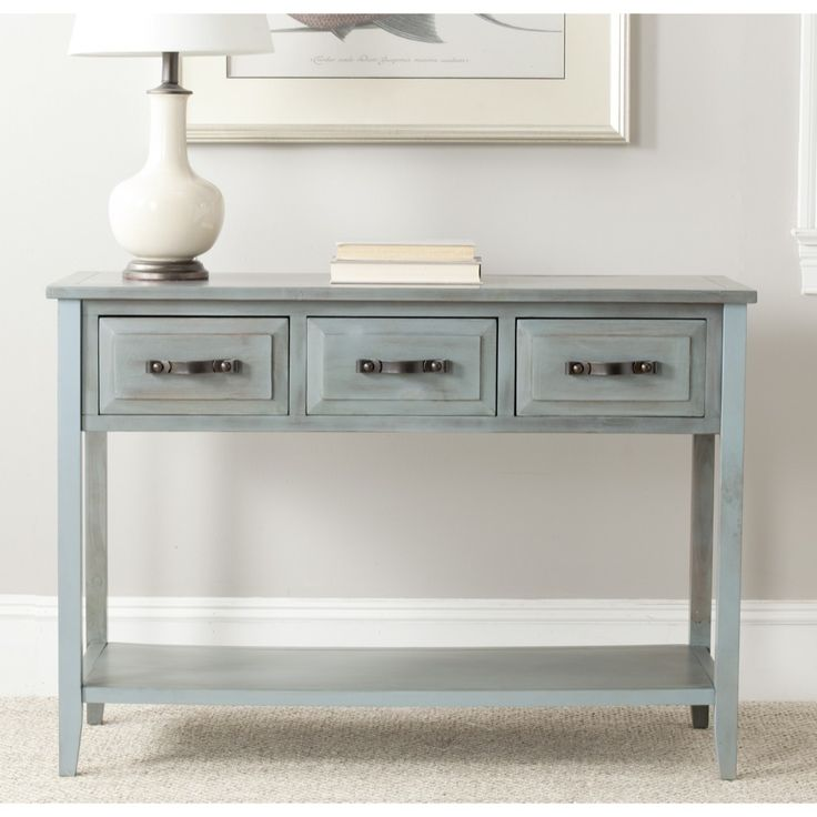 Safavieh aiden console distressed pale blue white table for White foyer table