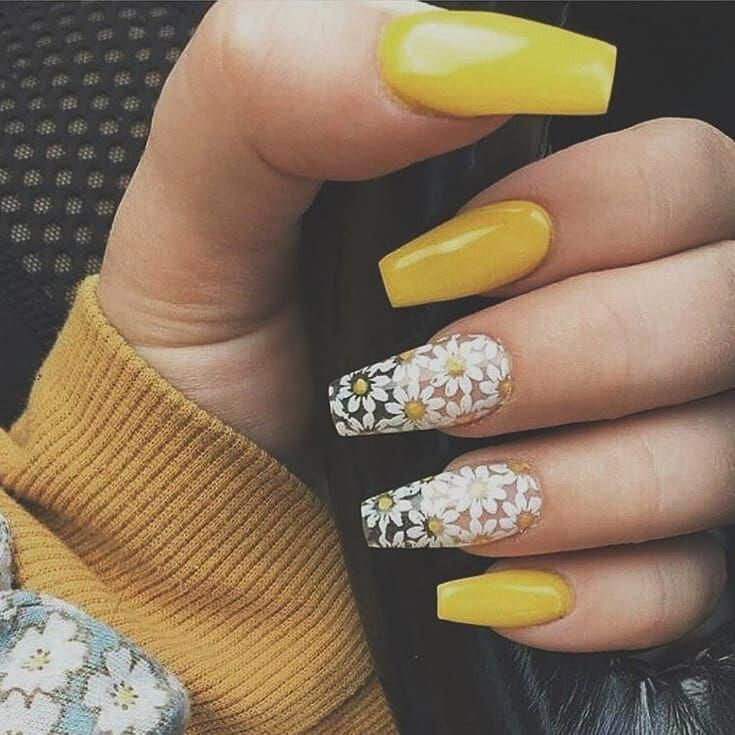 Yellow Sunflower Nails Yellow Nails Nails Coffin Nails Designs
