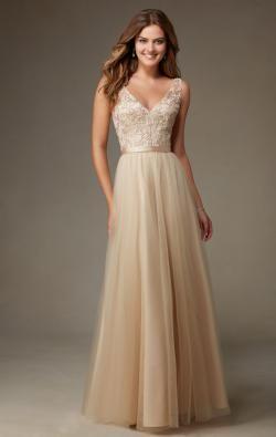 image of 2016 Champagne Long Bridesmaid Dress BNNCL0010