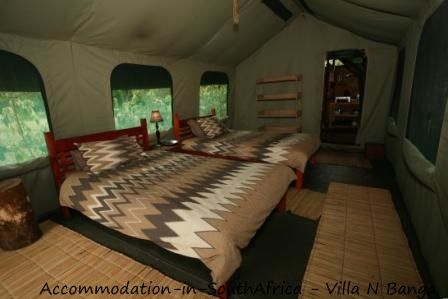 Tented accommodation at Villa N'Banga. Villa N'Banga accommodation.
