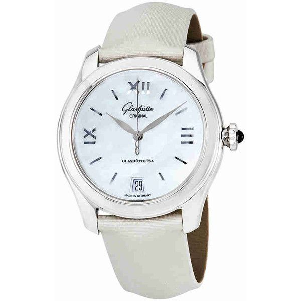 Glashutte Serenade Mother Of Pearl Dial Ladies Watch ($4,392) ❤ liked on Polyvore featuring jewelry, watches, transparent crown, crown jewelry, see through watches, analog wrist watch and stainless steel jewellery