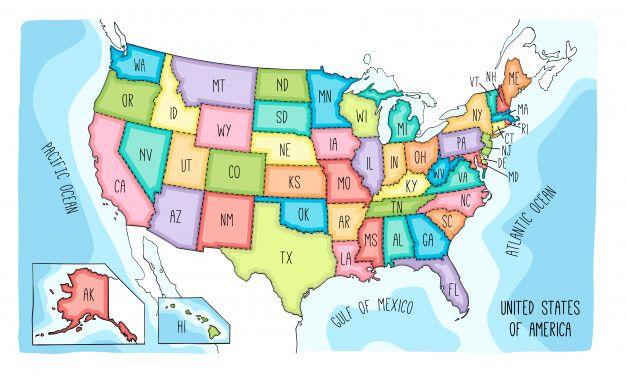 Mapa Del Vector De Los Estados Unidos De Premium Vector Freepik Vector Fondo In 2020 Map Vector Usa Map United States Map