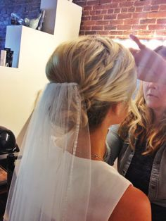 bridal updo with veil, then replace it with a headpiece