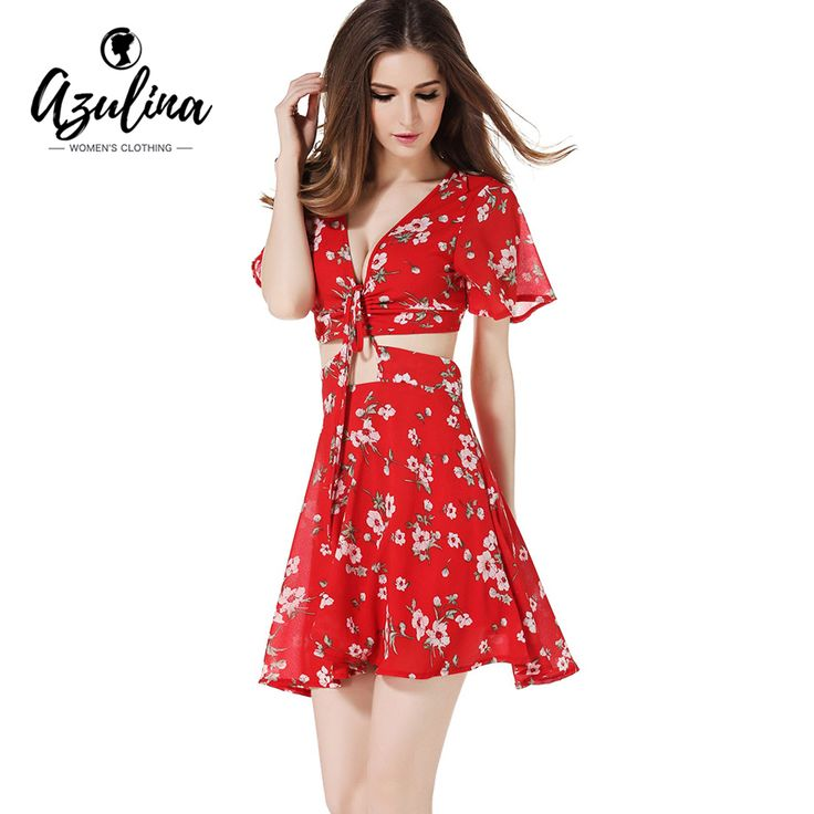 Cheap dress for, Buy Quality summer beach dress directly from China beach dress Suppliers: AZULINA 2017 Summer Beach Dress For Women Short Sleeve Deep V Neck Female Sexy Vestido Floral Print Red Beach Casual Mini Dress