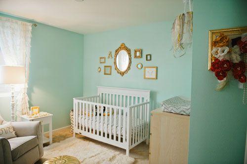 tiffany blue and gold toddler bed | Quarto azul para menina?