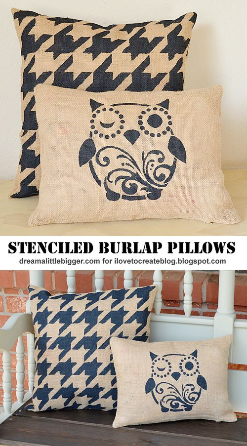 iLoveToCreate Blog: DIY Outdoor Stenciled Burlap Pillows