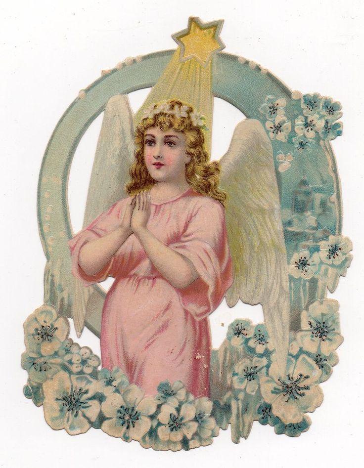 Chromo découpi oblaten glanzbild victorian die cut scrap Ange angel engel 14.5cm
