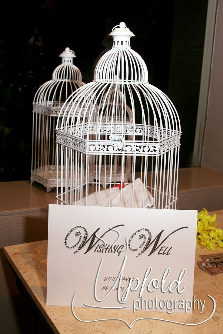 The bride and groom had already set up a home before their wedding, so their gifts were all of money, and what a beautiful and elegant place for guests to leave their envelopes - this lovely bird cage. Image by Upfold Photography, Auckland. ~ Birdcage wedding decoration ~ elegant wedding wishing well ~