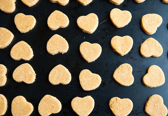 DOG COOKIES - Pumpkin Peanut Butter Dog Cookies 2 1/2 cups whole wheat flour 2 large eggs 2/3 cup pumpkin purée, canned or fresh 3 tbsps peanut butter
