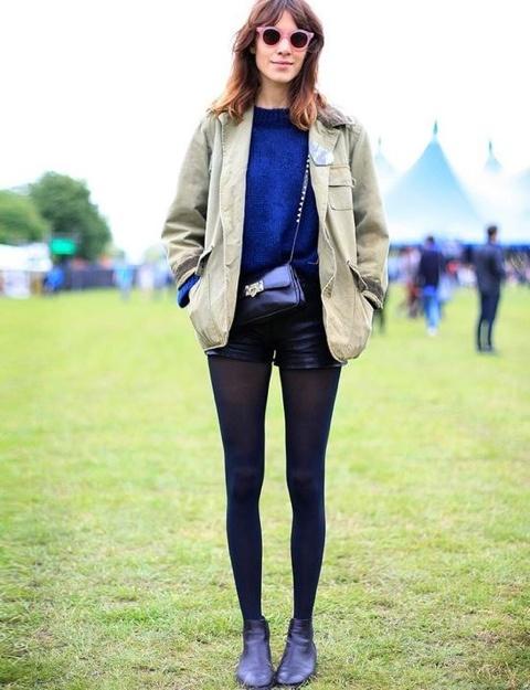 Leather Shorts, Fashion, Festivals, Black Leather, Street Style, Fields Day, Alexachung, Alexa Chung