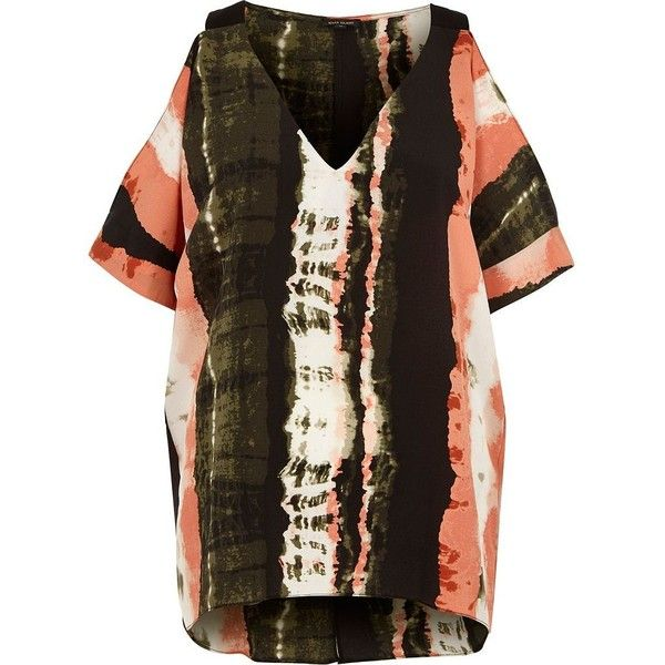River Island Khaki green tie dye cold shoulder top ($60) ❤ liked on Polyvore featuring tops, bardot / cold shoulder tops, khaki, women, v-neck tops, brown top, short sleeve tops, tye dye tops and v neck tops