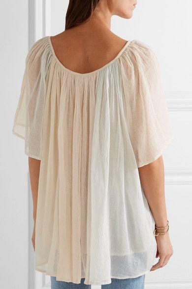 Mes Demoiselles - Rosace Gathered Cotton-gauze Blouse - Pastel pink - FR38