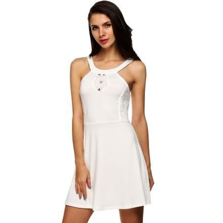 Modaling Ladies Lace Patchwork Vestido sin mangas Blanco