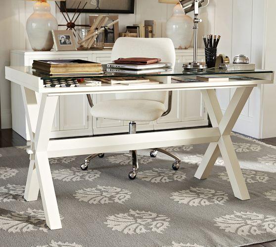 Ava Glass Display Wood Desk - Antique White