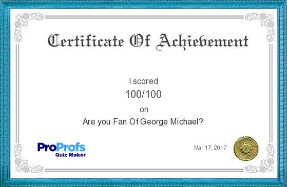 Score Report: Are you Fan Of George Michael? at Free Online Quiz School