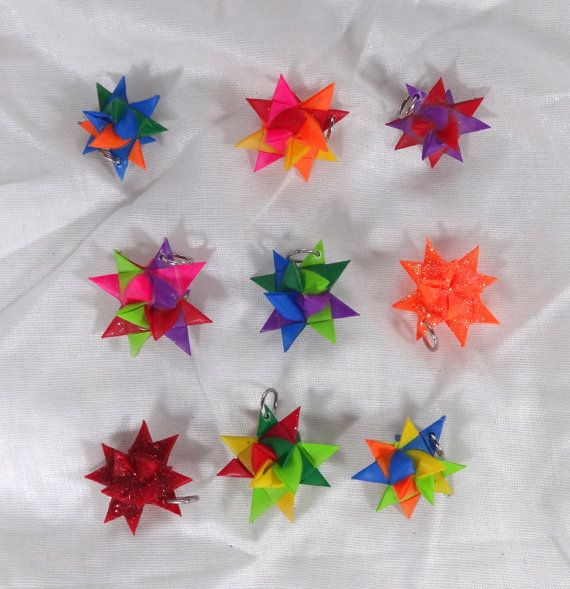 """Set of Nine Handmade Mini Origami Froebel Star Charms in Color Variety 1"""" Small Size"""