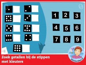 *▶ Zoek getallen bij de stippen met kleuters, rekenen met digibord of computer op kleuteridee.nl