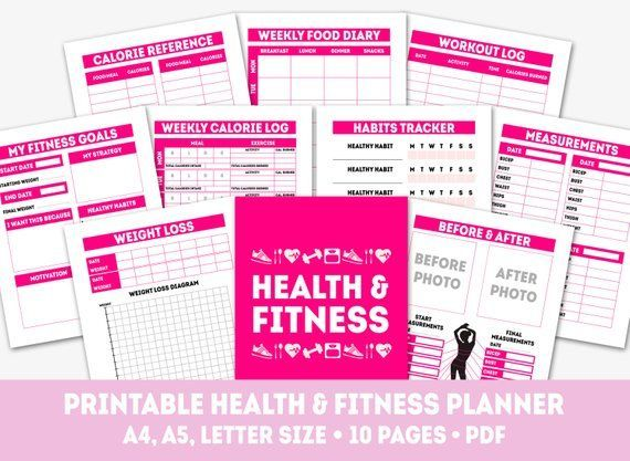 Printable health and fitness planner, measurement and weight loss