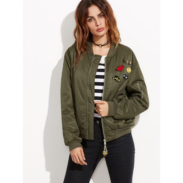SheIn(sheinside) Olive Green Ribbed Trim Satin Bomber Jacket With... ($16) ❤ liked on Polyvore featuring outerwear, jackets, green, brown bomber jacket, short green jacket, green bomber jacket, flight jacket and bomber jacket