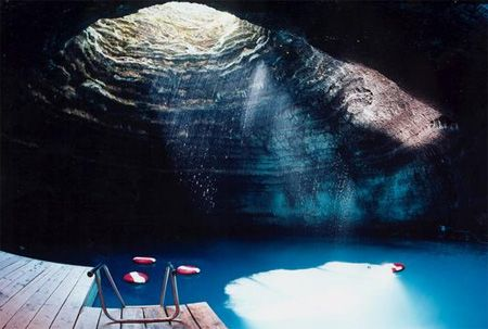 Underground Pool        Located in Midway, Utah, Homestead Crater is a 55-foot tall, limestone rock that nature has hollowed out and filled with 90° to 96° water. [link]