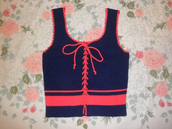 70 pizzo maglia sexy babe di canotta camicia 1970 hippy ritagliata mezzo di corsetto blu rosso maglione a righe mod serbatoio ritagliata camicia superiore grande