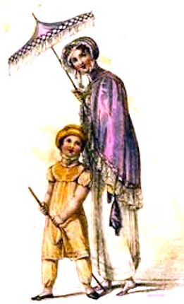 1810  June.  Summer Walking Outfits, English.    Mother and child out walking, child pants suit and matching hat and mother with purple shawl over her white dress and carrying a reticule and a parasol. Fashion Plate via Rudolph Ackermann's 'The Repository of Arts'. Google Books  (PD-150)  suzilove.com