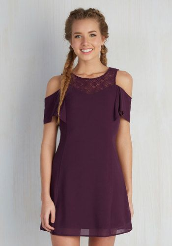 Be it an outdoor music bash or a showcase of indie films, this purple A-line rocks any artist gathering! Snag the theater's best seat while clad in the open shoulders of this lace-neckline frock, or catch a thrilling setlist in its airy silhouette - with this dress, the adventure never ends!