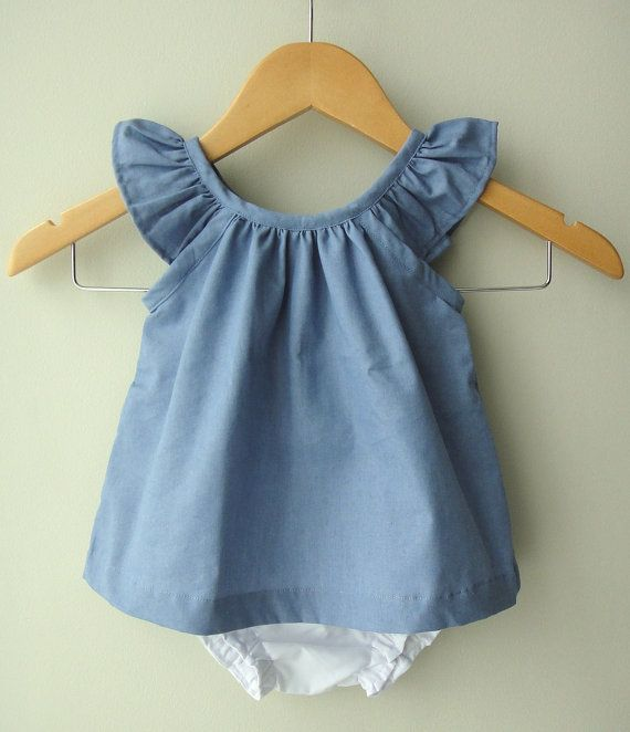 Blue Baby Girl Cotton Dress and Bloomer Set by bluedaisywares, $35.00