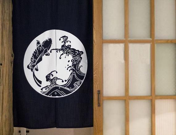 Custom Size Door Curtain Koi Fish Linen Silk Screen Noren