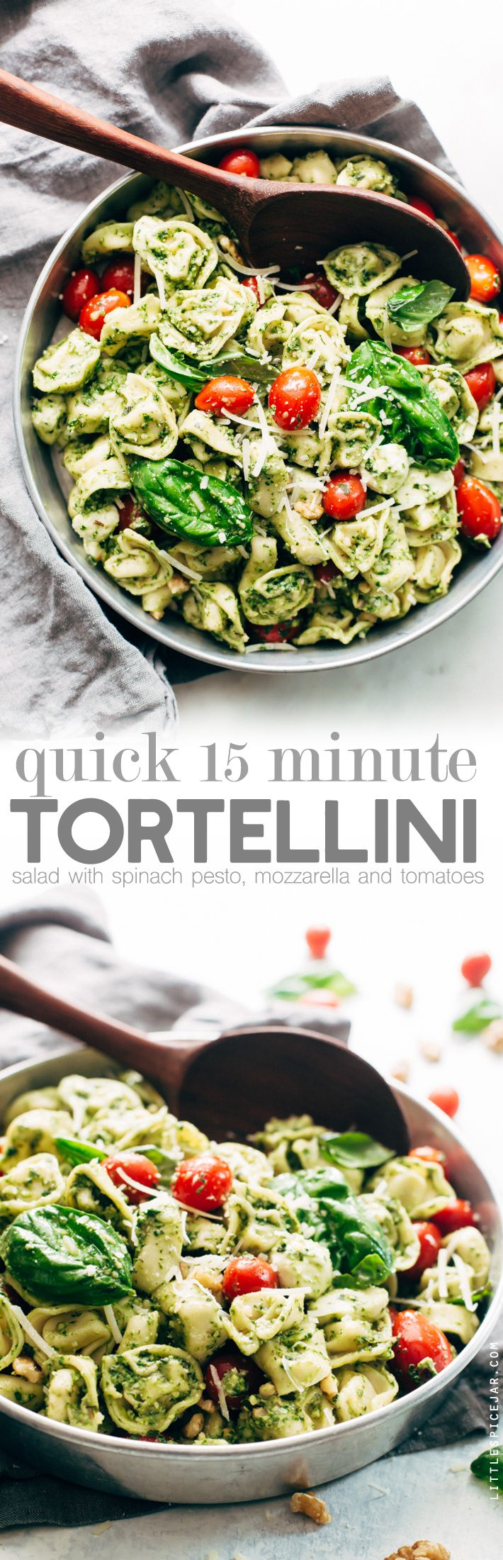 15 Minute Spinach Pesto Tortellini Salad - a quick and easy pasta salad that's perfect for picnics, potlucks, and barbecues! Ready in just 15 minutes! #tortellinisalad #pasta #pastasalad #spinachpesto | Littlespicejar.com sponsored by @cawalnuts