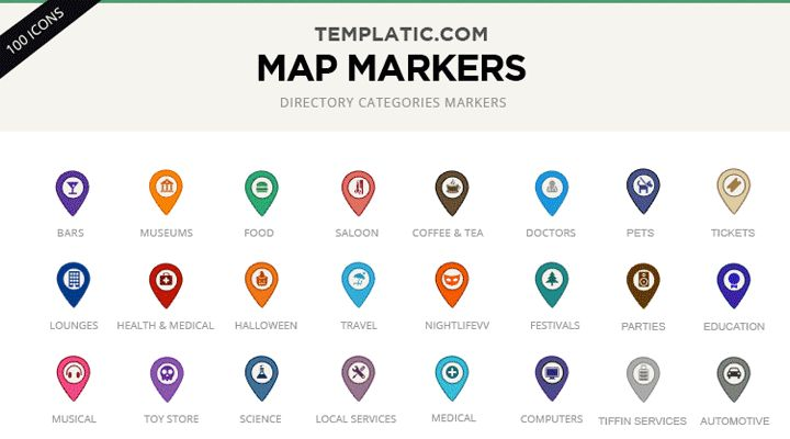 100 Free PSD Custom Google Map Markers / Icons - Webthemes.me