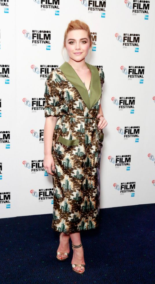 Florence Pugh wearing Burberry at the Tresspass Against Us premiere at the BFI London Film Festival
