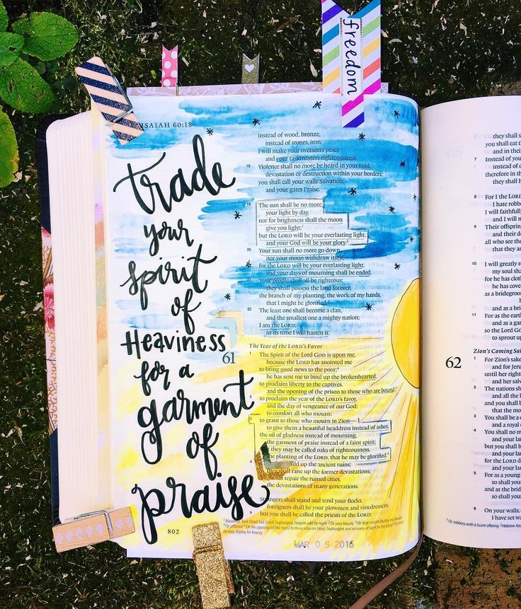"""...to give unto them beauty for ashes the oil of joy for mourning the garment of praise for the spirit of heaviness; that they might be called trees of righteousness the planting of the Lord that he might be glorified. Isaiah 61:3 I'm excited to say this is my first leap into the adventure of creating art in the journaling bible I got for Christmas. I'm also humbled that this passage was spoken over me at the exact time I needed it. In all the craziness of my life my spirit has felt so…"