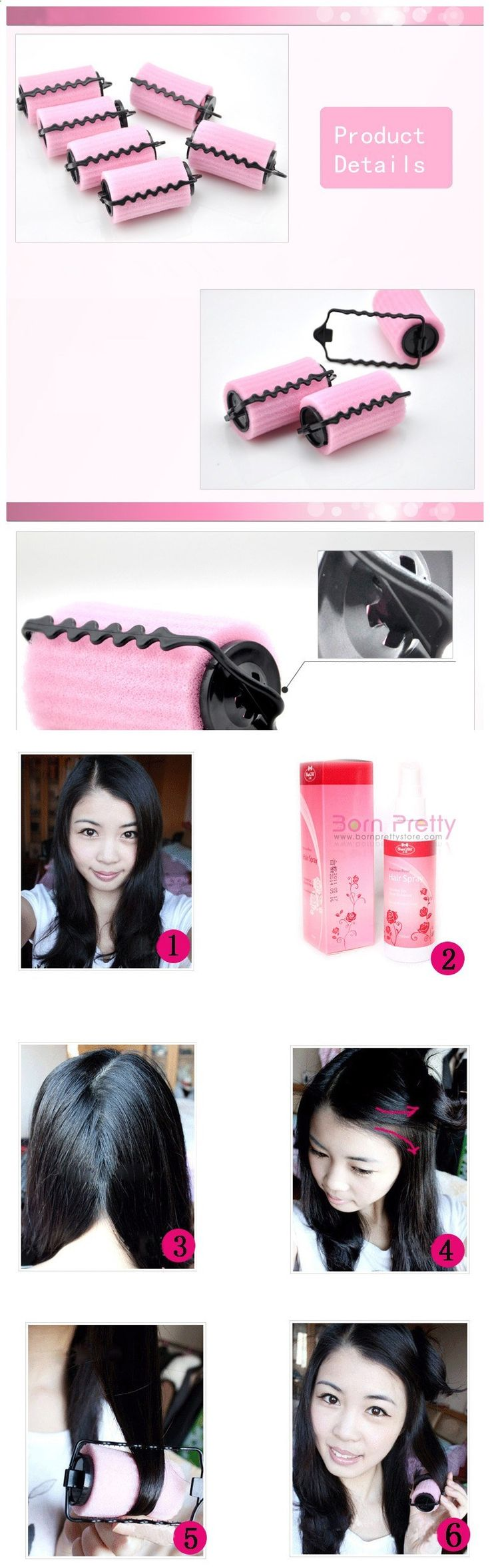 $3.48 6 pcs Lovely Lady Soft Sponge DIY Hair Curler Curling Rollers - BornPrettyStore.com